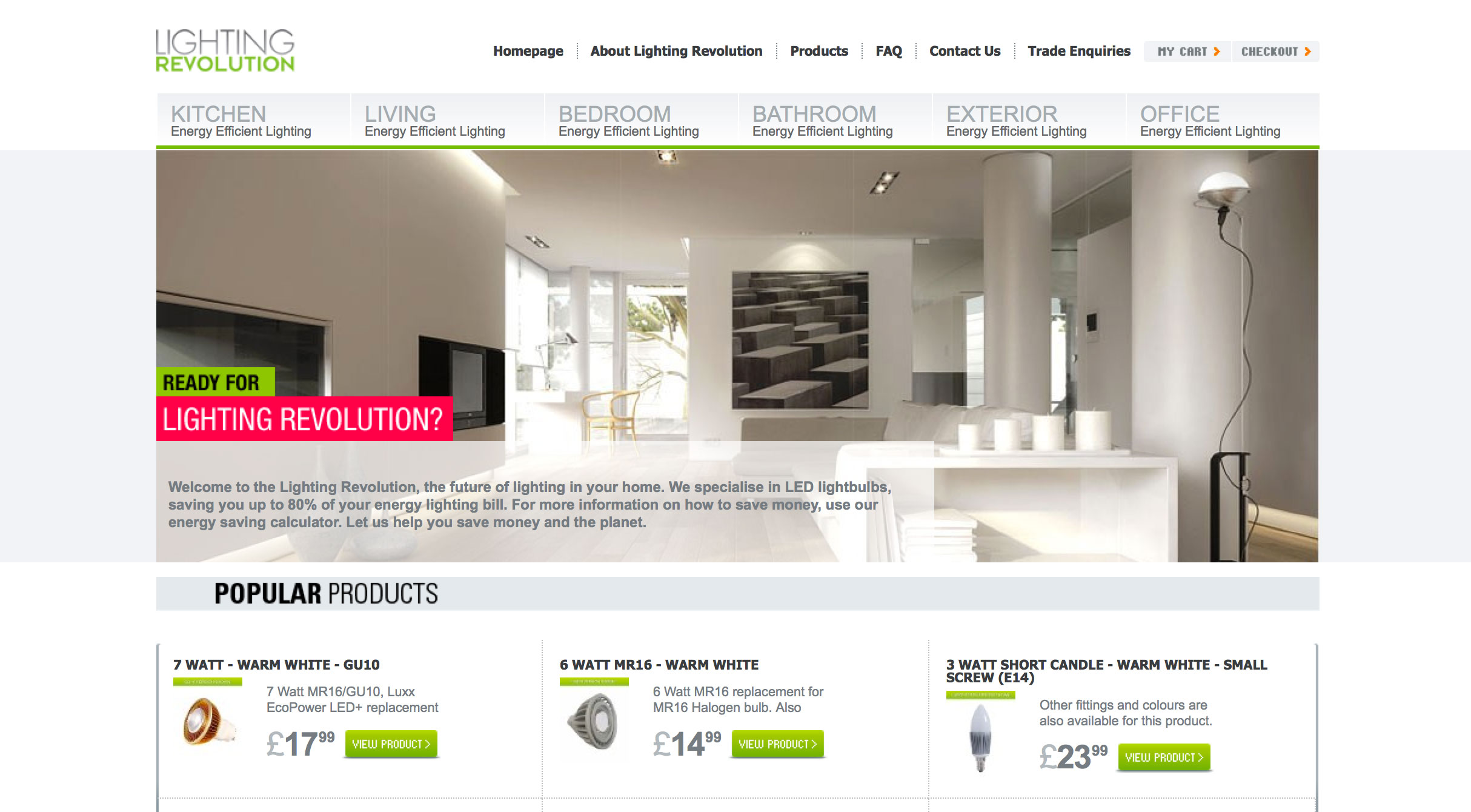 Lighting Revolution homepage screenshot